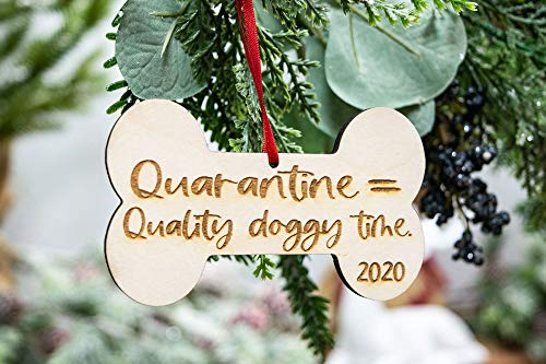 Quarantine Equals Quality Doggy Time, 2020 Dog Ornament, Dog Mom Gift