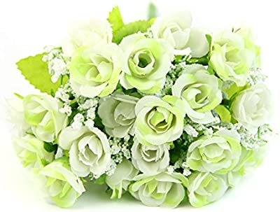21 Heads Silk Rose Artificial Flowers Fake Leaf Wedding Bouquet Home Party Decor