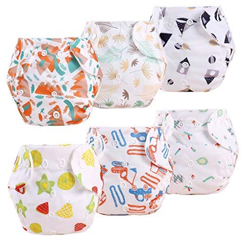 4 Stück Baby Stoffwindel Windelhose Babywindel Taschenwindeln Größe Verstellbar Waschbare wiederverwendbare Windeln für Neugeborene, 0-18 Monate