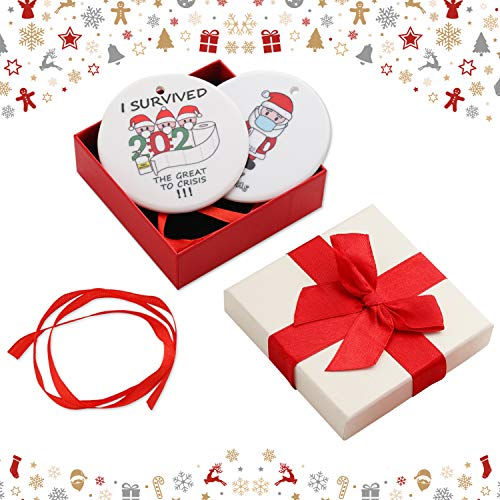 2Pcs 2020 Merry Christmas Ceramic Ornaments Gift, GIGIK Double Side Printed Pendants for Cute Xmas Christmas Tree Hanging Accessories Holiday Home Family Decor