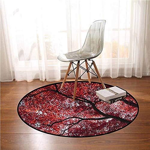 Liz Carter 60cm Runder Teppich Natur, magischer Herbstbaum verlässt Babyzimmer Dekor runde Teppiche