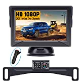 Rohent HD Backup Camera and Monitor Kit 2021 Version Two Channels License Plate Driving Hitch Rear/Front View Observation System for Cars Trucks SUVs Super Night Vision R2