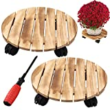 Together-life 2 Pack Round Wood Plant Caddy, 12 Inch Rolling Wooden Plant Stand with Lockable Wheels, Flower Pot Rack Rolling Tray Indoor Outdoor Planter Trolley with 360° Rotating Casters