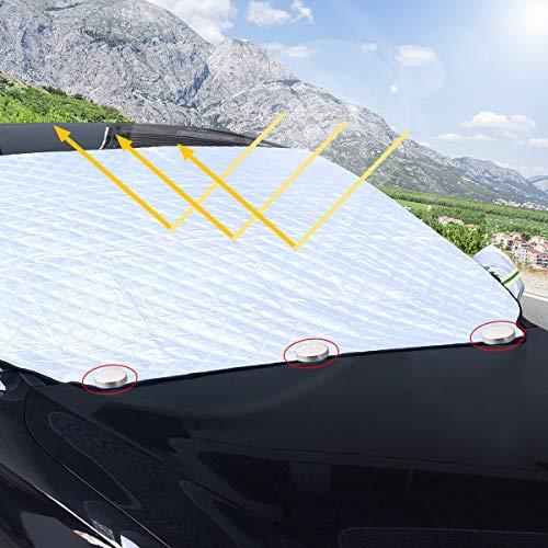 Osaloe Frontscheibenabdeckung, Auto Scheibenabdeckung Foldable Removable Windschutzscheibe Abdeckung for Sommer Winter Anti UV Radiation, Snow, Dust, Dirt, and Frost(Geeignet für Alle Autos)