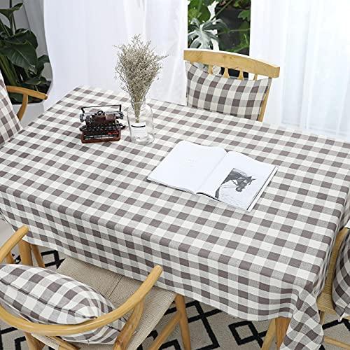VIVILINEN Mantel Rectangular, Mantel de Lino de algodón, diseño de cuadrícula de Costura Cuadrada, manteles rectangulares, manteles Lavables para Mesa de Comedor de Cocina (Gris, 140x240cm)
