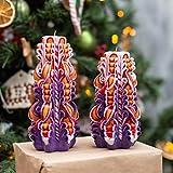 Vela tallada brillante púrpura y naranja - Juego de velas navideñas - Juego de velas para decoración del hogar