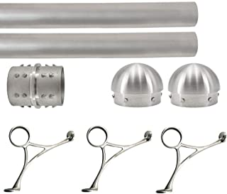 Top Hardware Solid Bar Foot Rail Kit (Extra Long, Custom-Made Item) - Brushed Stainless Steel Tubing (2 in OD, 8 ft Length) w/Internal Connector - Combination Foot Rail Brackets - Domed End Caps
