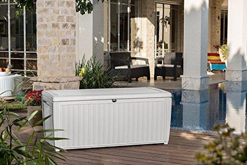 Auflagenbox / Kissenbox Koll Living 511 Liter l 100{fa17d94a153dc12d4c74173f63a5f29a5f94cf6b6bbfacb0c6e39390ac5c0487} Wasserdicht l mit Belüftung dadurch kein übler Geruch / Schimmel l Moderne Rattanoptik l l Deckel belastbar bis 200 KG ( 2 Personen ) - Poolbox