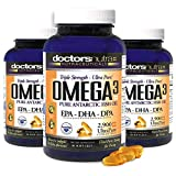 (Pack of 3) Natural Wild Omega 3 Fish Oil DPA Supplement by Doctors Nutra Nutraceuticals - 2,900 Milligrams Triple Strength Ultra Pure Concentrated, EPA-DPA-DHA, Soft-Gels with no Fish-Tasting Burps
