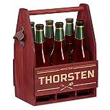 Murrano Bierträger für 6 Flaschen 0,5L + Gravur - Männerhandtasche mit Flaschenöffner - Größe: 25x17x32cm - aus Holz - Geschenk für Männer zum Geburtstag - Meister