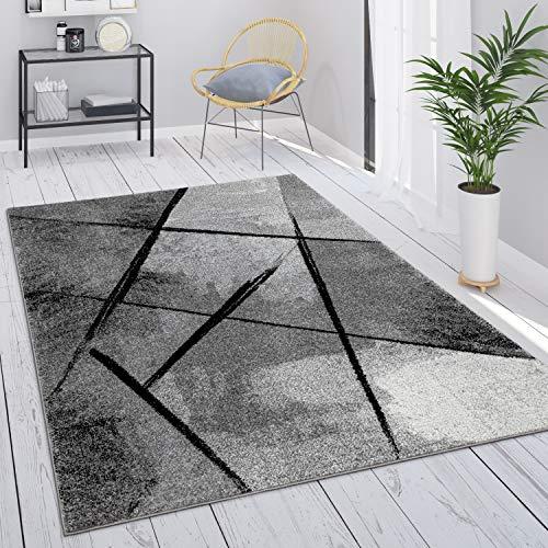 Paco Home Tapis Gris Tapis Salon Tapis Vintage Salon Poils Ras Géométrique Motif Abstrait, Dimension:60x100 cm, Couleur:Gris 2