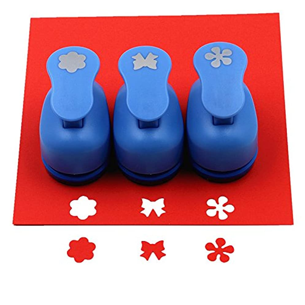 CADY Crafts Punch set 5/8-Inch paper punches 3pcs/set (Plum blossom. Flowers. Bowknot)