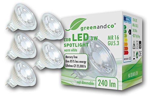 5x greenandco® LED Spot ersetzt 25 Watt MR16 GU5.3 Halogenstrahler, 3W 240 Lumen 2700K warmweiß COB LED Strahler 38° 12V AC/DC Glas mit Schutzglas, nicht dimmbar, 2 Jahre Garantie