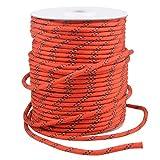 TRIWONDER Corda 50 Metri per Tenda Campeggio, Cordino Resistente in Nylon, Paracord Riflettente da Campeggio, Amaca, Barca, Bucato, Bagaglio (Arancio - 50m)