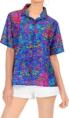 LA LEELA Women Hawaiian Boyfriends Shirt Ladies Beach Blouses Tops S Multi_X166