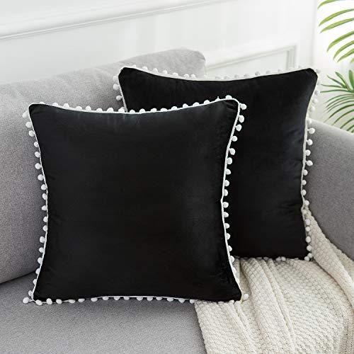WLNUI Juego de 2 fundas de almohada de terciopelo suave negro de 45,7 x 45,7 cm, cuadradas, con pompones decorativos, fundas de cojín para sofá, sofá, hogar, decoración de granja
