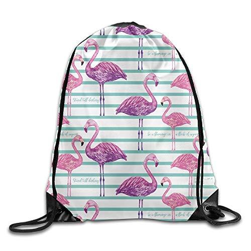 ZHIZIQIU Purple Flamingos Print Drawstring Backpack Rucksack Shoulder Bags Sport Gym Bag for Men and Women