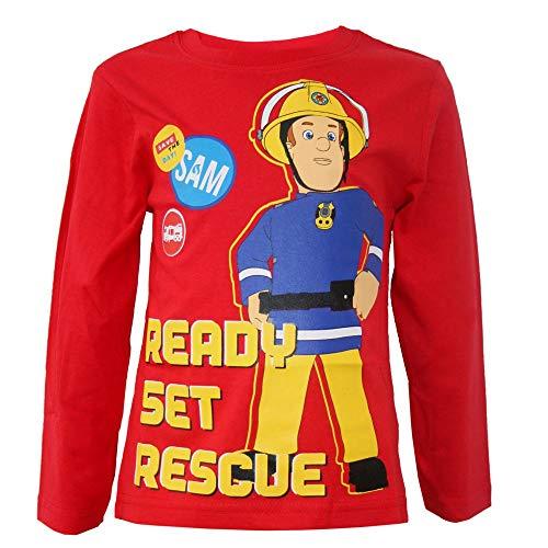 Sam il pompiere, maglietta a maniche lunghe da bambino, taglia 98-116 Colore: rosso 110 cm