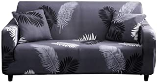HOTNIU Printed Sofa Slipcover for 1 2 3 4 Seater Couch - Spandex Stretch Fit with Elastic Strap Sofa Cover - 1-Piece Easy-Going Anti-Wrinkle Slip Resistant Couch Cover (Black Feather, Chair)