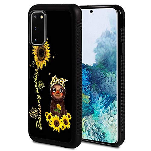 Galaxy S20 FE 5G Case,Sunflower and Sloth Design Shockproof Slim Anti-Scratch TPU Rubber Protective Case Cover Compatible with Samsung Galaxy S20 FE 5G