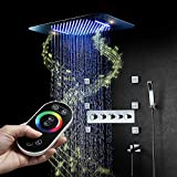M Boenn Music LED Shower Speaker 580×380mm Waterfall Rainfall Bathroom Shower System Thermostatic(Showerheads+Controller Mixer+Body Jet+Spout+Handheld+hose)