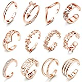 LOLIAS 12Pcs Open Toe Rings for Women Girls Arrow Adjustable Toe Band Ring Gifts Jewelry Set,Rose Gold