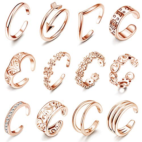LOLIAS 12Pcs Open Toe Rings for Women Arrow Adjustable Toe Band Ring Gifts Beach Foot Jewelry Set,Rose Gold