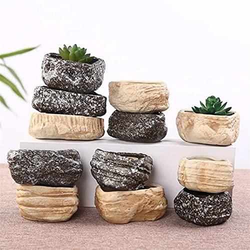 yywl Maceteros Creative Cerámica Piedra Forma Maceta Hogar Jardín Bonsai Cactus Plantador Potes Suculenta Flor Balcón Decoración (Farbe : 6)
