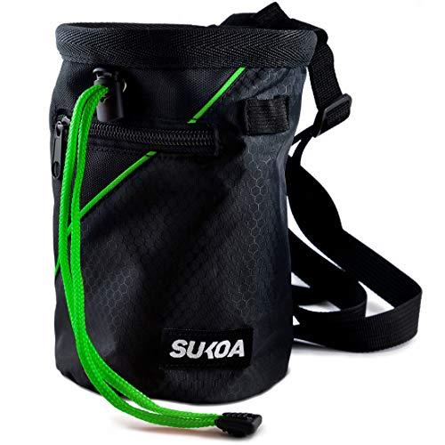 Sukoa Chalk Bag for Rock Climbing - Bouldering Chalk Bag Bucket with Quick-Clip Belt and 2 Large Zippered Pockets - Rock Climbing...
