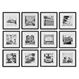 Gallery Perfect 16FW2233 12 Piece Black Square Photo Picture Hanging Template Gallery Wall Frame Set, 9.60 x 31.40 x 17.00 Inches
