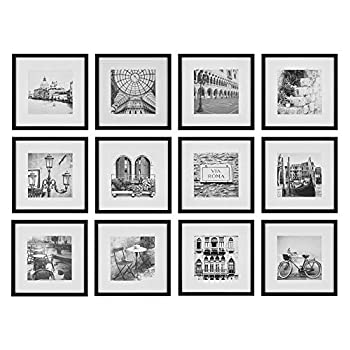Gallery Perfect 16FW2233 12 Piece Black Square Photo Picture Hanging Template Gallery Wall Frame Set 12 x 12 inches