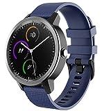 FunBand Cinturino di ricambio compatibile con Garmin Vivoactive 3, 20 mm, in morbido silicone, adatto per smartwatch Garmin Vivoactive 3 Music/Forerunner 645 Music/Vivomove HR, Dark Blue, 1 confezione