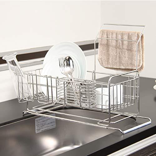 KEYUCA(ケユカ)ネオナビオドレーナー(省スペース/食器収納)水切りラックカトラリーコップ収納洗い物置ステンレス