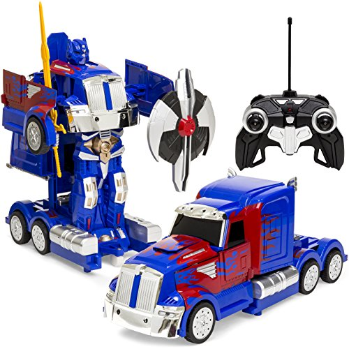 Best Choice Products RC Transforming Toy Semi Truck Robot Car w/ Realistic Sounds, Sword and Shield, 360 Spinning, Rapid Drifting - Blue/Red