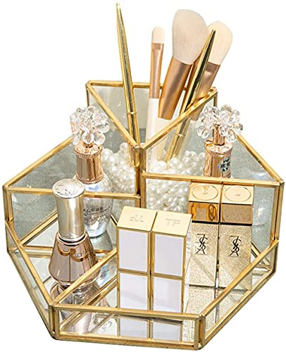 qiuqiu Gold Vintage Spiegel Tablett - Makeup Schmuck Organizer - Parfüm Tablett - Metall Polygon Tablett - Glas Waschtisch Tablett - Dekoration Tablett