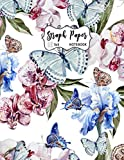 Graph Paper Notebook: Grid Paper Journal: Beautiful Butterflies and Flowers Watercolor | Quad Ruled 4 Squares per Inch(5x5) Workbook for Math, ... Sketching | Large Size 8.5 X 11 Inches