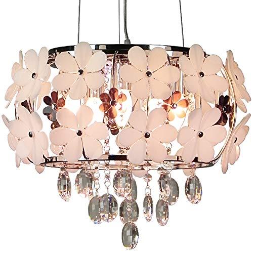 Deckenleuchte Pendelleuchte Ggraziös Kronleuchter Kristall Design Glaszylinder und Blume Acryl für Baby Mädchen Zimmer E14*5 Ø45cm*35CM Weißes(A ++)