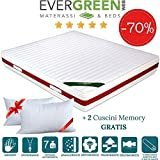 <span class='highlight'>EVERGREENWEB</span> Double Bed Mattress 135x190 mm Memory Foam & Orthopaedic Polyurethane 22 cm High with 2 Pillows Free High Wave Sheet High Hypoallergenic Cover with Removable White