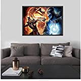 RZHSS Mortal Kombat Poster Scorpion Fighting Game Home Decor Tableau Plakat Print On Canvas-60X80Cm No Frame