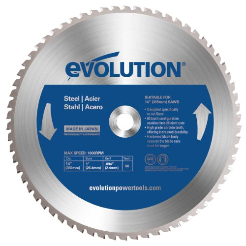Evolution Power Tools 14BLADEST Steel Cutting Saw Blade, 14-Inch x 66-Tooth Carbide Cutting Saw Blade