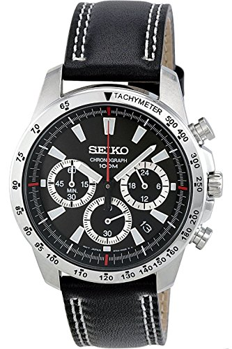 Seiko SSB033P1, da uomo, cronografo, cassa in acciaio INOX, cinturino in pelle, Hardlex Crystal, 100M WR, SSB033