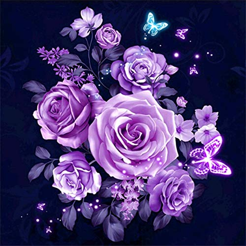 Diamond Painting Kits for Adults Full Drill - 5D Diamond Art Kits with Painting by Number Kits for Adults - Great Decor for Room,Office,Kitchen,Shop (Purple Peony 11.8X11.8Inch)