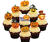 Calabaza. – Halloween comestible cupcake toppers – Pie oblea decoraciones para tartas, Pack of 36