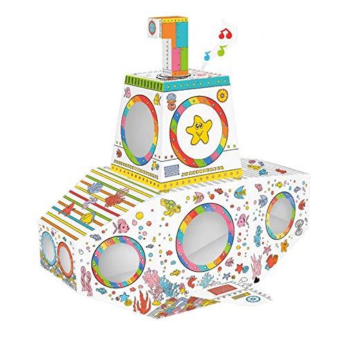 TikTakToo Spielhaus Malhaus aus Pappe U-Boot mit Licht und Sound Pappspielhaus zum Bemalen und Dekorieren inklusive Stifte Haus Spielzeug Karton