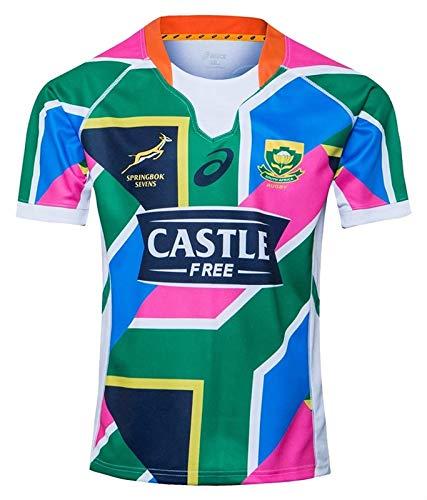 2020 Südafrika Springbok 7s Rugby-Trikots, Weltcup-Baumwoll-Jersey-Grafik-T-Shirt, Heim- und Auswärts-Wettkampf-Training Football Jersey, Geschenk für einen Freund (Color : B, Size : XXL)