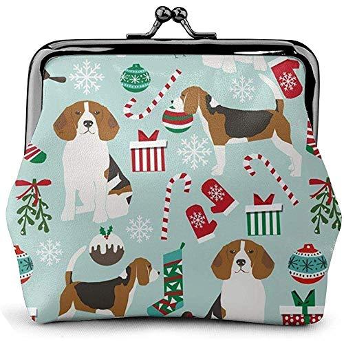 Kerstmis Beagle CCute Honden Lederen Coin portemonnee Kisses Lock Change Pouch Vintage Sluiting Gesp Portemonnee