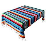 AerWo 59 x 84 Inch Mexican Tablecloth Mexican Serape Blanket for Mexican Party Wedding Cinco De Mayo Fiesta Decorations Outdoor Picnics Dining Table Cover, Large Square Cotton Fringe Table Cloth