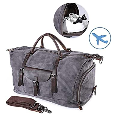 Travel Duffel Bag Large Canvas Sports Hand Bag Vintage Weekender Luggage Bag for Women Men Gray