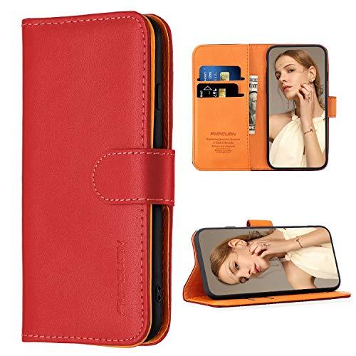 FMPCUON Hülle Case Kompatibel mit Xiaomi Poco X3 NFC/Xiaomi Poco X3 - Premium PU Leder Brieftasche Handyhülle - Handy Lederhülle Cover Schutzhülle Etui Tasche Book Klapp Style Handytasche, Rot
