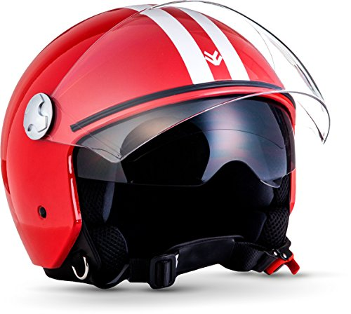 "ARMOR HELMETS® AV-63 ""Fun Red"" · Jet-Helm · Motorrad-Helm Roller-Helm Scooter-Helm Moped Mofa-Helm Chopper Retro Vespa Vintage · ECE 22.05 Sonnenvisier Schnellverschluss Tasche XXL (63-64cm)"